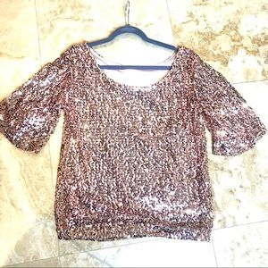 Gold/Pink Sequin Top Bell sleeves M/L